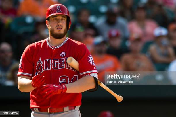 J Cron of the Los Angeles Angels of Anaheim hits against the Baltimore Orioles in the eighth inning at Oriole Park at Camden Yards on August 20 2017...