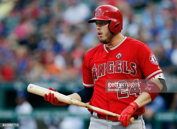 J Cron of the Los Angeles Angels of Anaheim reacts to striking out in the third inning of a baseball game against the Texas Rangers at Globe Life...