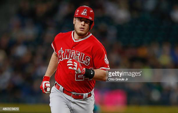 J Cron of the Los Angeles Angels of Anaheim rounds the bases after hitting a tworun home run in the sixth inning against the Seattle Mariners at...