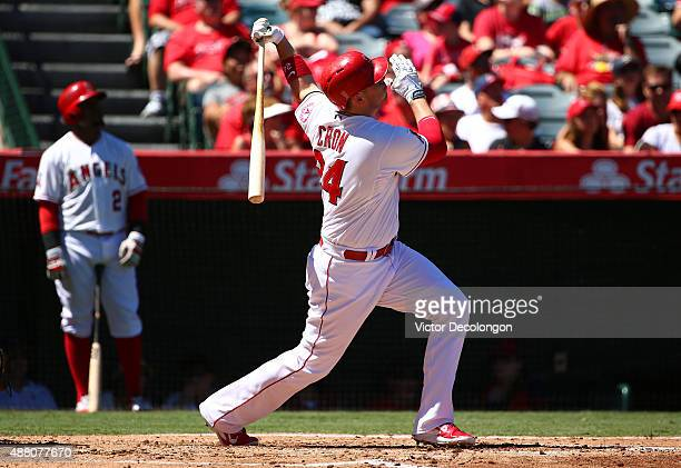 J Cron of the Los Angeles Angels of Anaheim watches the ball go toward left field bleachers for a solo homerun in the second inning against the...