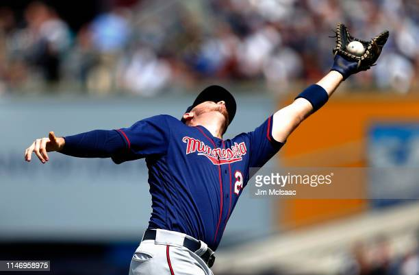 J Cron of the Minnesota Twins makes a catch for an out during the fourth inning against the New York Yankees at Yankee Stadium on May 04 2019 in the...