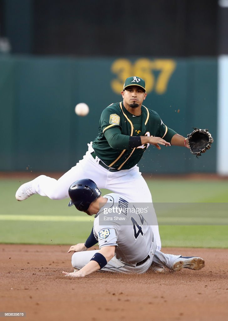 C.J. Cron #44 of the Tampa Bay Rays breaks up a double play as Franklin Barreto #1 of the Oakland Athletics throws to first base on ball hit by Joey Wendle #18 of the Tampa Bay Rays in the first inning at Oakland Alameda Coliseum on May 29, 2018 in Oakland, California.