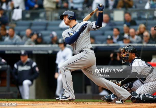 Cron of the Tampa Bay Rays follows through on a first inning RBI double against the New York Yankees at Yankee Stadium on April 4, 2018 in the Bronx...