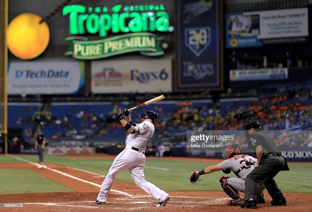 C.J. Cron #44 of the Tampa Bay Rays hits a three run home run in the seventh inning during a game against the Detroit Tigers at Tropicana Field on July 11, 2018 in St Petersburg, Florida.