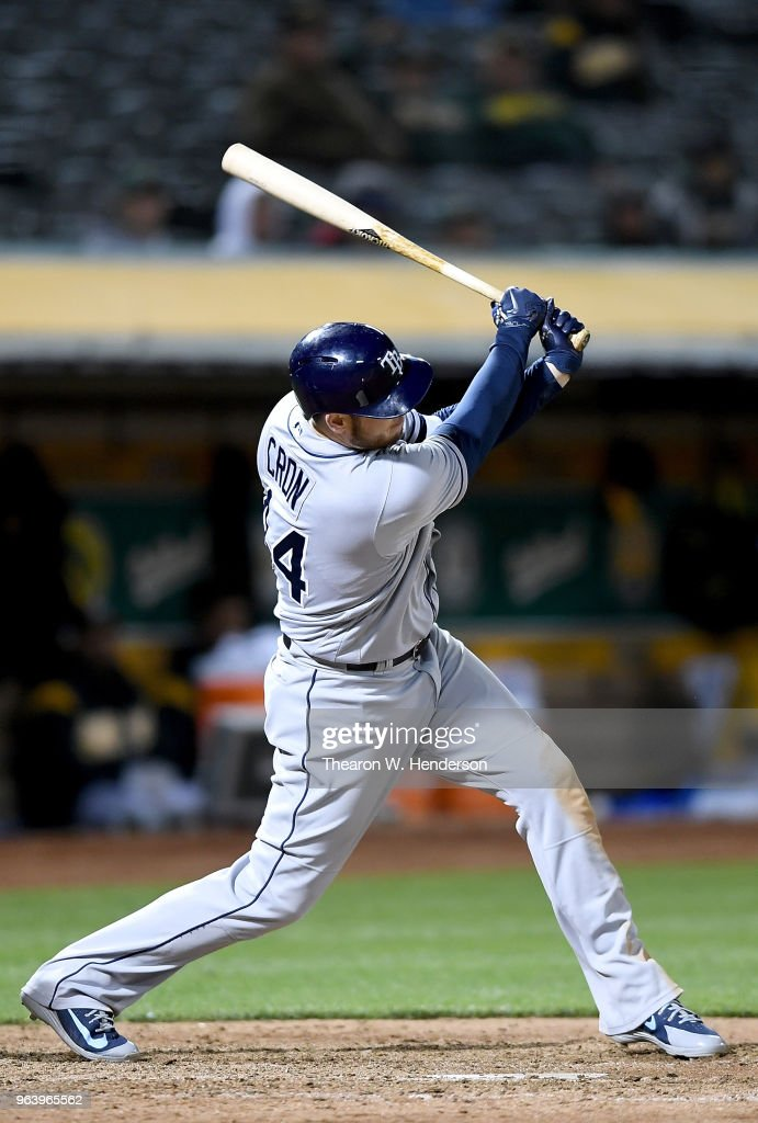 C.J. Cron #44 of the Tampa Bay Rays hits an RBI double in the top of the eighth inning against the Oakland Athletics at the Oakland Alameda Coliseum on May 30, 2018 in Oakland, California. The Rays won the game 6-0.