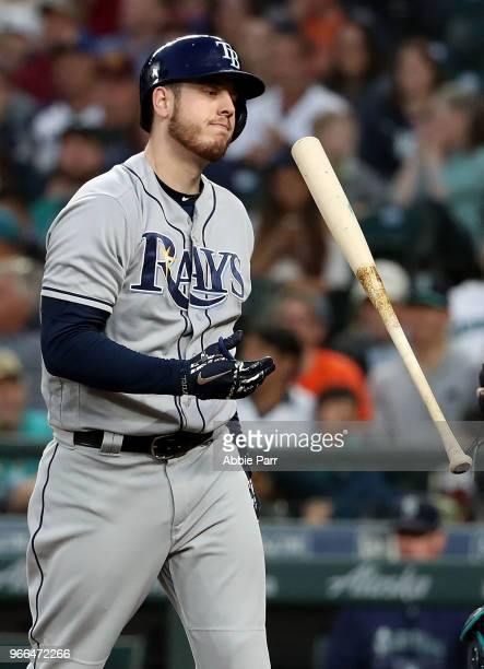 J Cron of the Tampa Bay Rays reacts after striking out in the fifth inning against the Seattle Mariners during their game at Safeco Field on June 2...