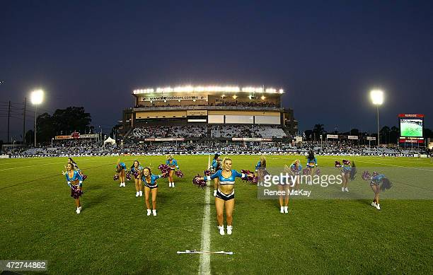Cronulla Sharks Cheerleaders perform during the round nine NRL match between the Sharks and the Warriors at Remondis Stadium on May 9, 2015 in...