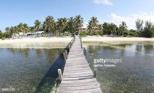A crooked bridge back to the beach on November 14 2008 in Treasure Cay Bahamas