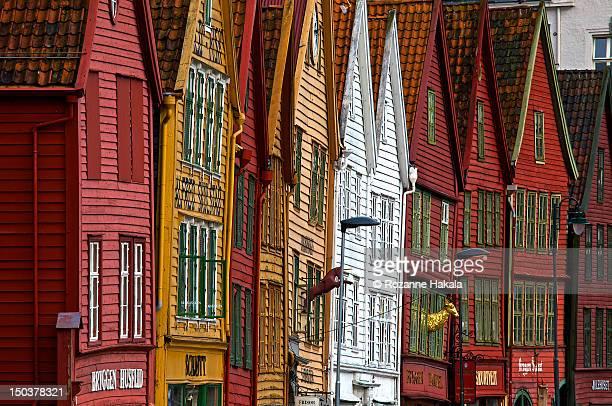Crooked houses in Bergen, Norway