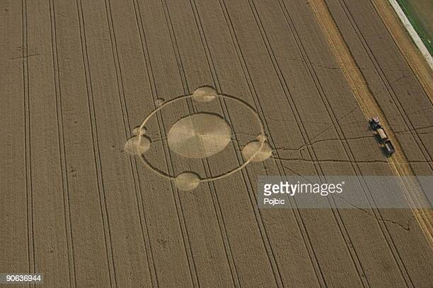 crop circles in the field - crop circle stock pictures, royalty-free photos & images