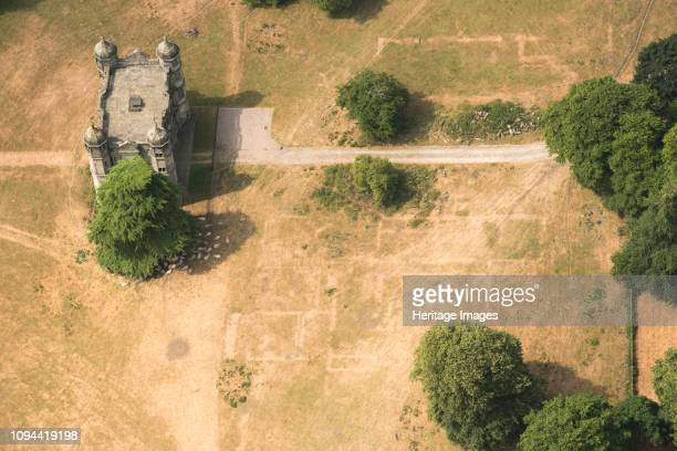 Crop marks revealing the buried foundations of Tixall Hall Staffordshire 2018 The house at Tixall was demolished in 1927 The 16th century gatehouse...