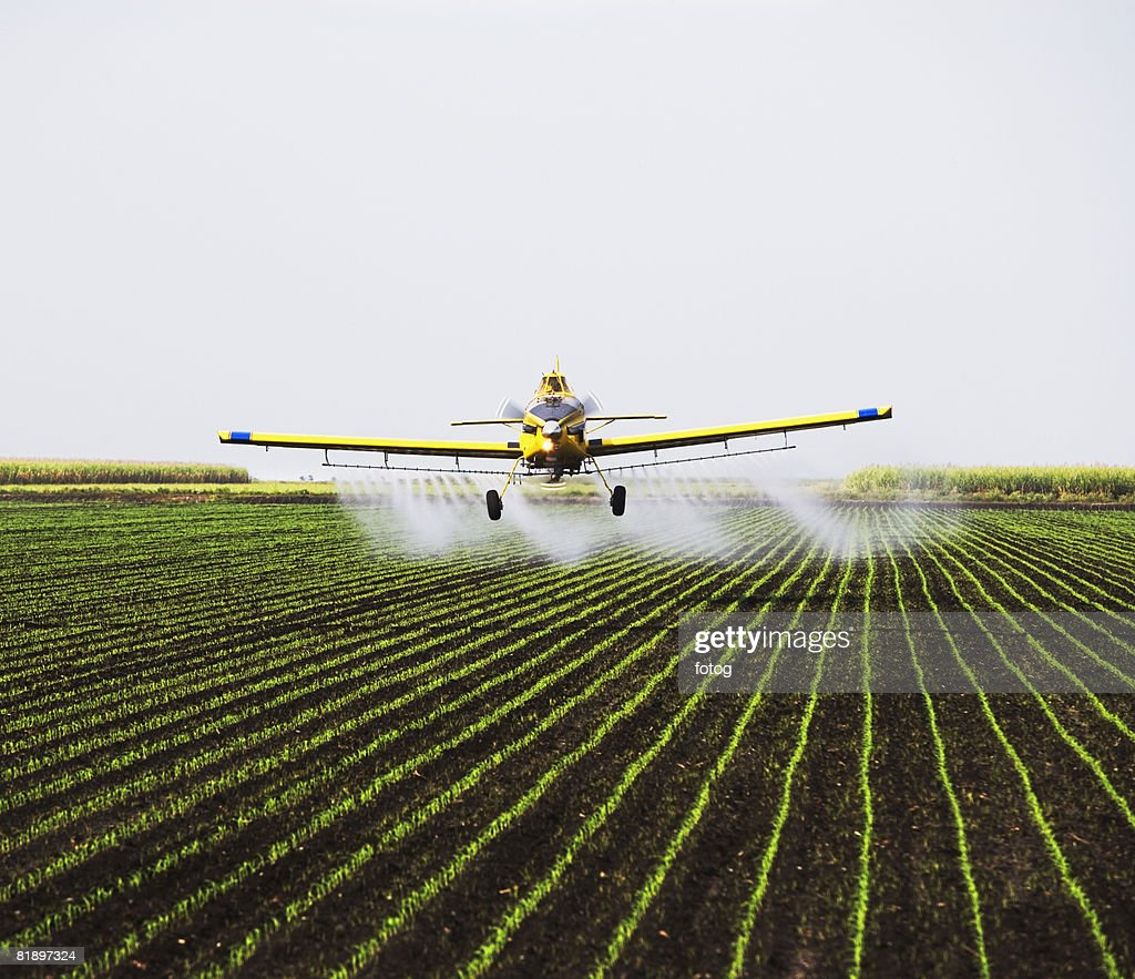 crop-duster plain over field : Stock Photo