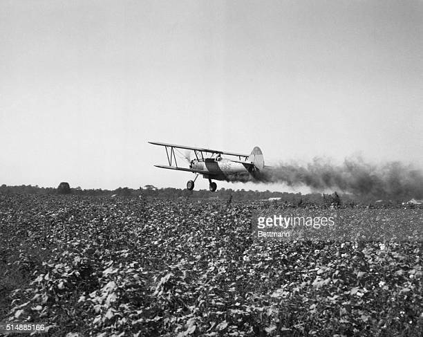 Cropdusting plane flies low over field Undated photograph BPA2