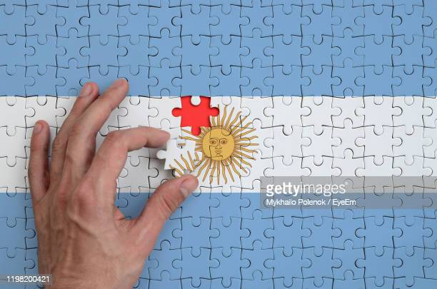 cropped hand arranging jigsaw pieces of urugaian flag - argentinas flagga bildbanksfoton och bilder