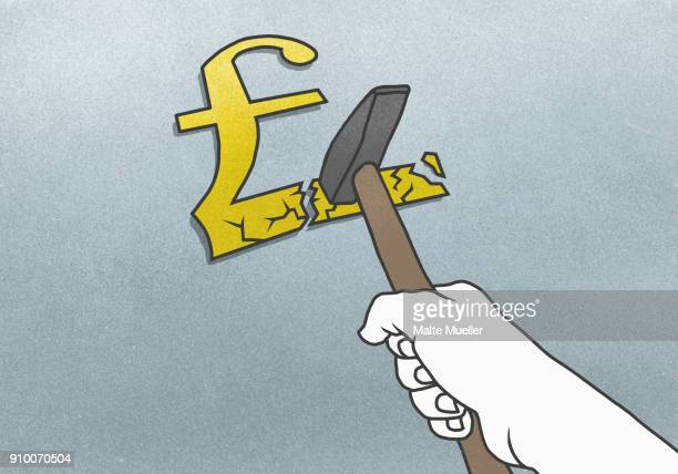 Cropped hand breaking Pound symbol with hammer on gray background