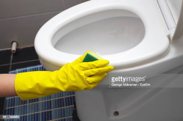 cropped hand cleaning toilet in bathroom - ゴム手袋 ストックフォトと画像