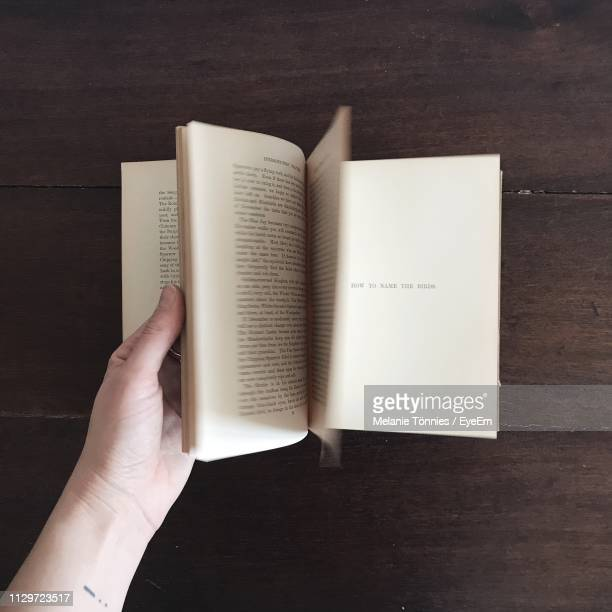 cropped hand flipping pages of book at table - literature stock pictures, royalty-free photos & images