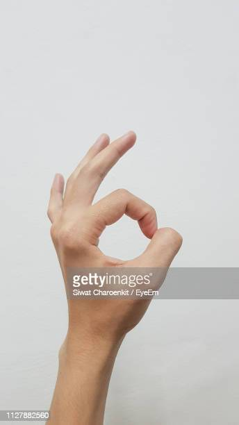 cropped hand gesturing against white background - ok sign stock pictures, royalty-free photos & images