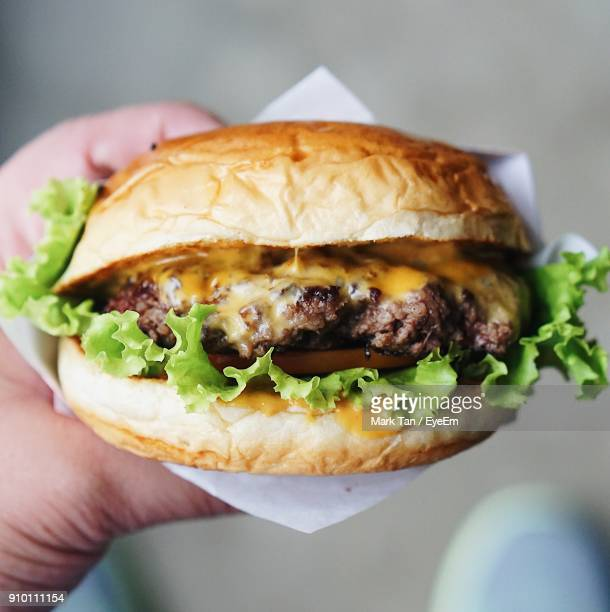 cropped hand holding burger - hamburger stock pictures, royalty-free photos & images