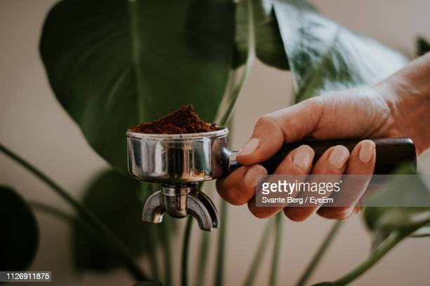cropped hand holding coffee ground - café moulu photos et images de collection