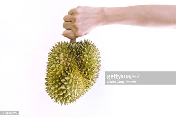 Cropped Hand Holding Durian Against White Background