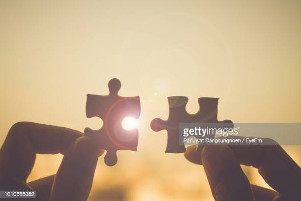 cropped hand holding jigsaw pieces - togetherness stock pictures, royalty-free photos & images