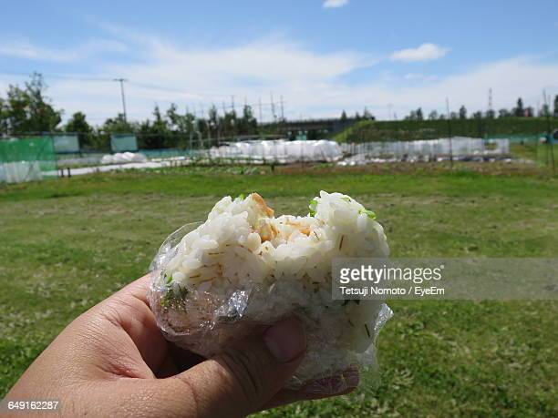 cropped hand holding rice ball at park - rice ball stock pictures, royalty-free photos & images