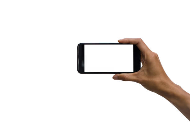 cropped hand holding smart phone against white background - horizontal stock pictures, royalty-free photos & images