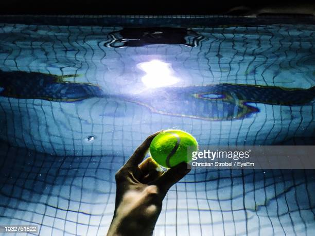 Cropped Hand Holding Tennis Ball In Swimming Pool