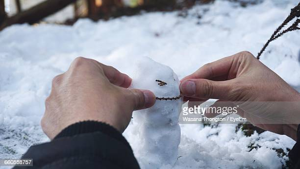 Cropped Hand Making Snowman