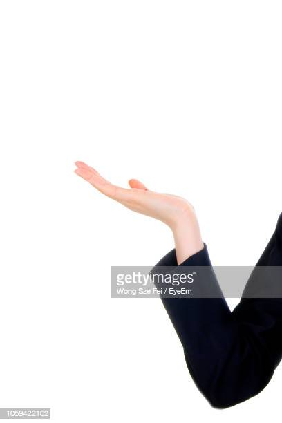 cropped hand of businesswoman gesturing against white background - long sleeved stock pictures, royalty-free photos & images