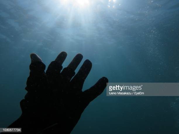 Cropped Hand Of Man Gesturing In Sea