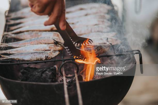 Cropped Hand Of Man Preparing Fish On Barbecue Grill