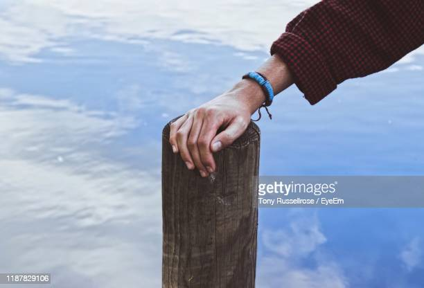 cropped hand of man touching wooden post in lake - pulsera fotografías e imágenes de stock