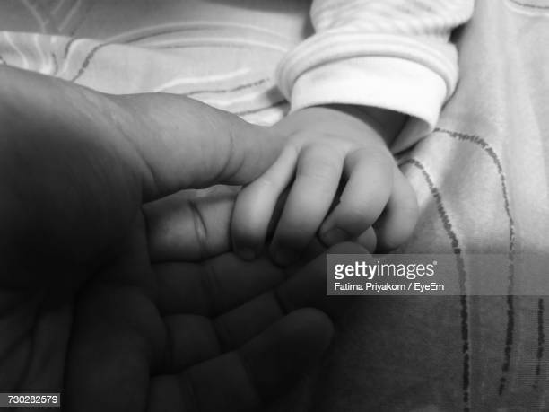 cropped hand of parent and baby boy on bed - hand of fatima stock photos and pictures