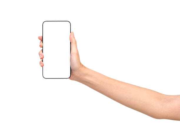 cropped hand of person holding blank smart phone against white background - human hand stock pictures, royalty-free photos & images
