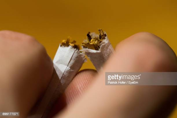 Cropped Hand Of Person Holding Breaking Cigarette