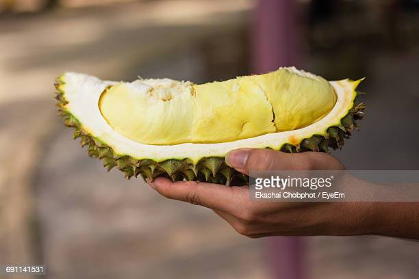 Cropped Hand Of Person Holding Durian Fruit