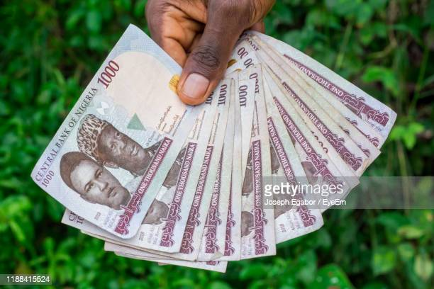 cropped hand of person holding paper currency - abuja stock pictures, royalty-free photos & images
