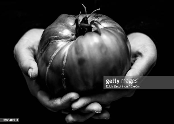 cropped hand of person holding tomato against black background - black and white vegetables stock photos and pictures