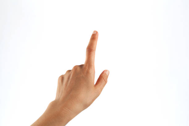 cropped hand of person pointing against white background - hand stock pictures, royalty-free photos & images