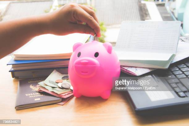 Cropped Hand Of Person Putting Coin In Piggybank By Passport With Books On Table