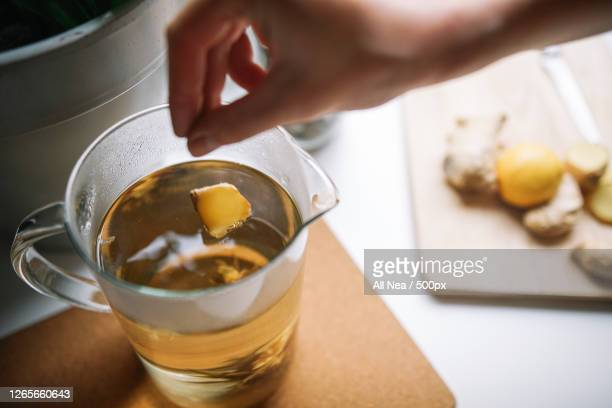 cropped hand of woman adding ginger slice to tea, lleida, spain - ginger spice stock pictures, royalty-free photos & images