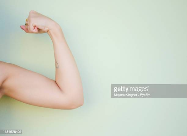 cropped hand of woman flexing muscle against white background - flexing muscles stock pictures, royalty-free photos & images