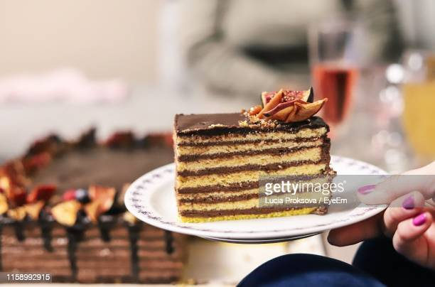 cropped hand of woman holding cake slice in plate - bratislava stock pictures, royalty-free photos & images