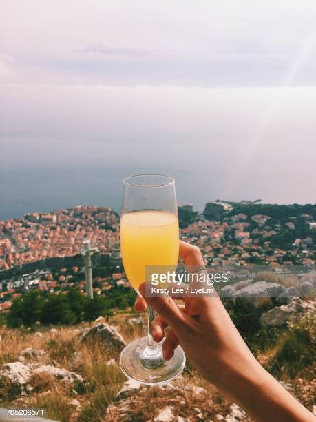cropped hand of woman holding mimosa against city by sea - mimosa stock pictures, royalty-free photos & images