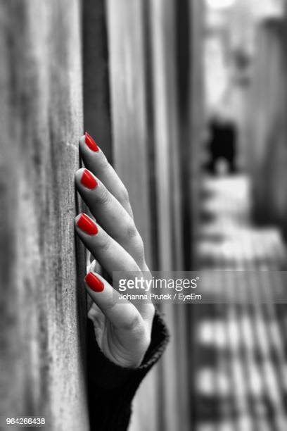cropped hand of woman holding wall - isolated color stock pictures, royalty-free photos & images