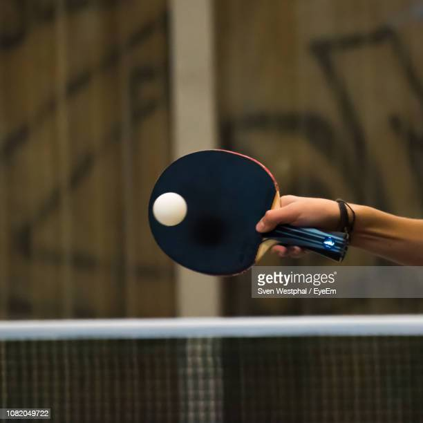 cropped hand of woman playing table tennis - table tennis stock pictures, royalty-free photos & images