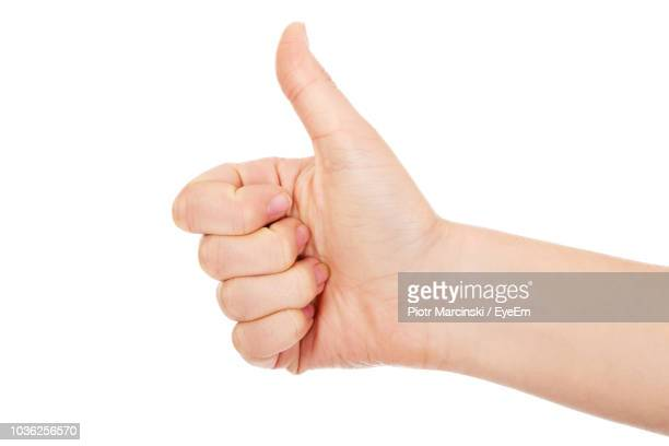 cropped hand of woman showing thumbs up against white background - partie du corps humain photos photos et images de collection