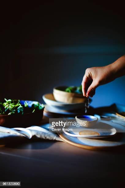 cropped hand of woman sprinkling salt in bowl while preparing salad at home - sal de cozinha - fotografias e filmes do acervo